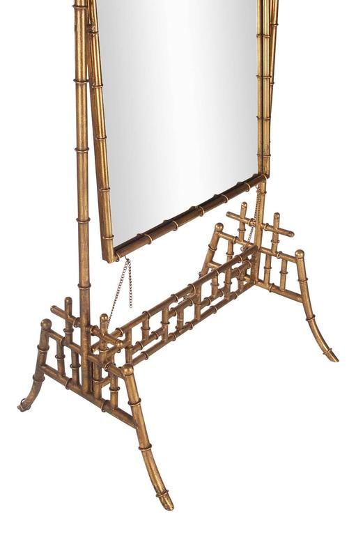 Regency Gold Gilded Faux Bamboo Chinese Chippendale Cheval / Floor ...