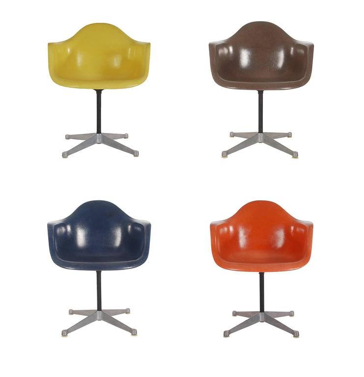 Mid-Century Eames for Herman Miller Fiberglass Dining Chairs in Assorted Colors For Sale