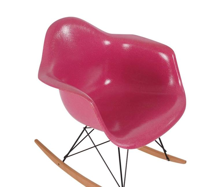 Rare Charles Eames For Herman Miller Hot Pink Fiberglass Lounge Rocking  Chair 2