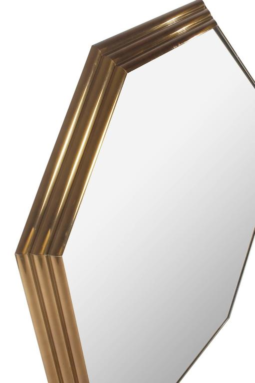 American Large Mid-Century Modern Art Deco Octagonal Brass Wall Mirror For Sale