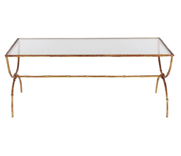Italian Gold Gilt Iron And Glass Faux Bamboo Metal Square: Hollywood Regency Gold Gilt Italian Brass And Glass Faux