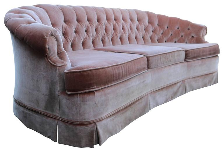 Gorgeous Dusty Rose Pink Vintage Sofa With Gently Curved Back And Tufted Detail Fabric Does