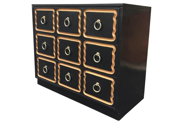 American Dorothy Draper Black and Gold Espana Chest For Sale