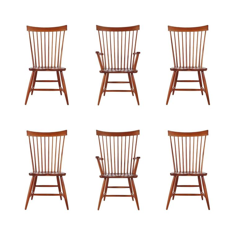 Set Of Six Mid Century Modern Windsor Tall Spindle Back Dining Chairs In  Cherry For