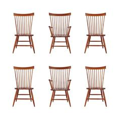 Set of Six Mid-Century Modern Windsor Tall Spindle Back Dining Chairs in Cherry
