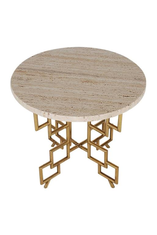 Hollywood Regency Italian Modern Brass Travertine Marble Table after Mastercraft In Excellent Condition For Sale In Philadelphia, PA