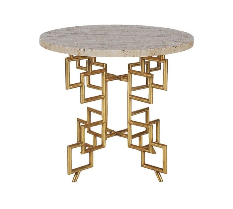 A chic and highly decorative occasional table made in Italy in the 1960s. It features a unique brass base with a heavy round piece of travertine marble.  In the style of: James Mont, Mastercraft and Hollywood Regency.