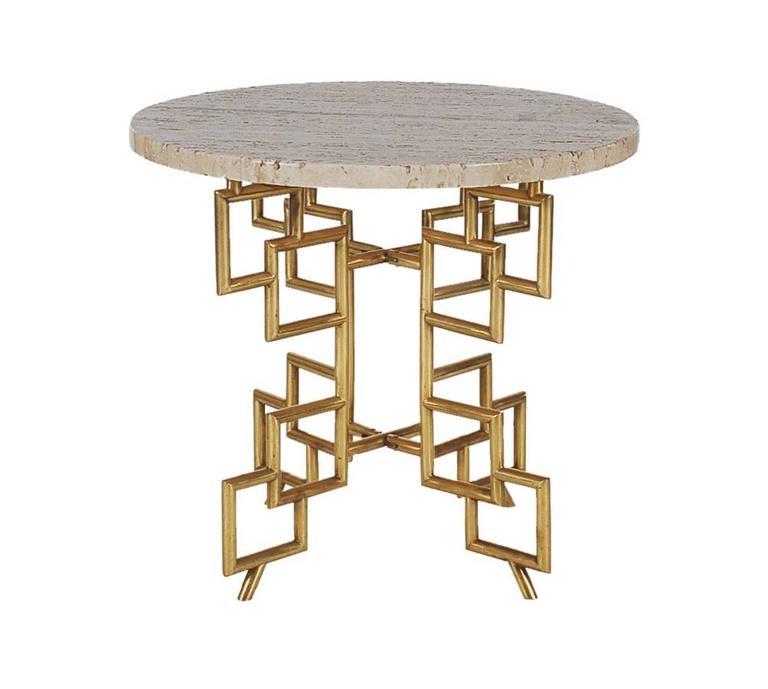Hollywood Regency Italian Modern Brass Travertine Marble Table after Mastercraft 2