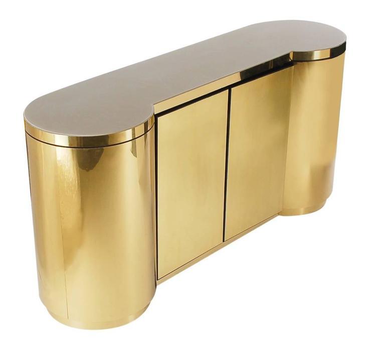 Hollywood Regency Brass Cylinder Credenza After Paul Evans or Karl Springer 3