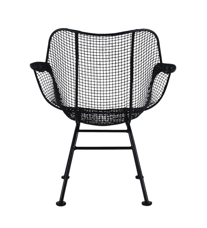 Steel Mid-Century Modern Pair of Sculptural Patio Wire Lounge Chairs, Russell Woodard For Sale