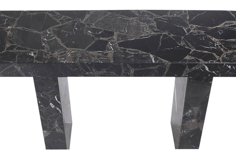 Italian Mid-Century Modern Black Marble Console, Desk or Sofa Table after Karl Springer For Sale