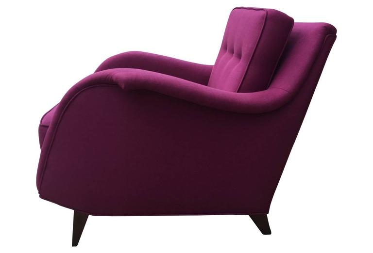 American Mid-Century Modern Raspberry Linen Armchair For Sale
