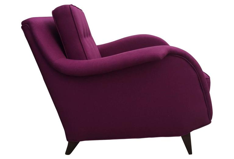 Mid-Century Modern Raspberry Linen Armchair In Excellent Condition For Sale In Philadelphia, PA
