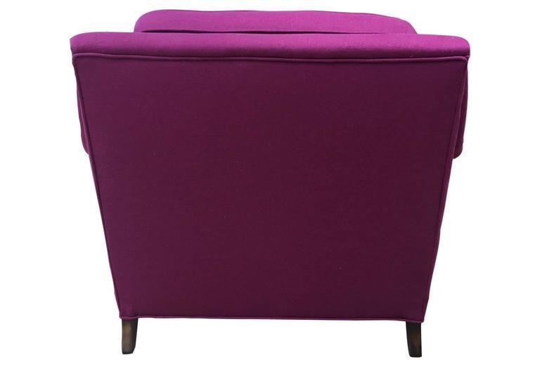 Mid-20th Century Mid-Century Modern Raspberry Linen Armchair For Sale