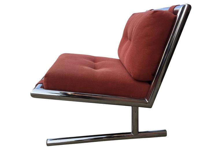 Arthur Umanoff Mid-Century Modern Chrome Cantilevered Sled Chair 3