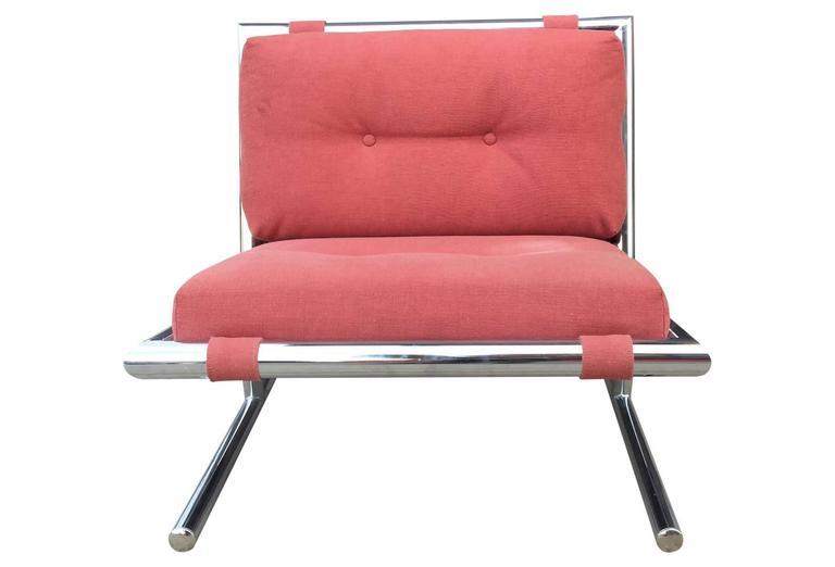 Arthur Umanoff Mid-Century Modern Chrome Cantilevered Sled Chair 2