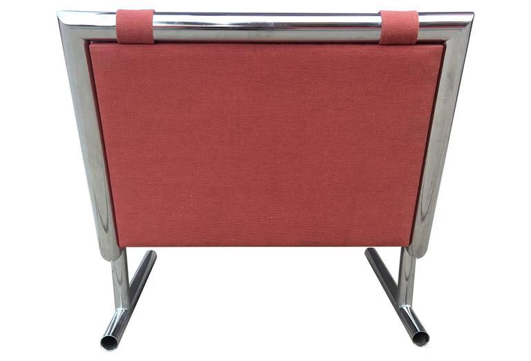 Arthur Umanoff Mid-Century Modern Chrome Cantilevered Sled Chair 4