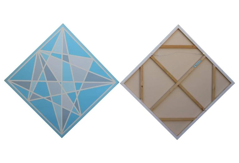 American Pair of Hard Edge Geometric Abstract Paintings in Blue Grey and White For Sale