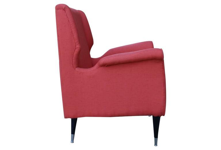 Pair Mid-Century Modern Salmon Orange-Pink Italian Armchairs 4