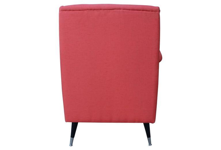 Pair Mid-Century Modern Salmon Orange-Pink Italian Armchairs 5