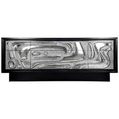Brutalist Mid-Century Silver Leaf Ebonized Credenza Philip Lloyd Powell Style