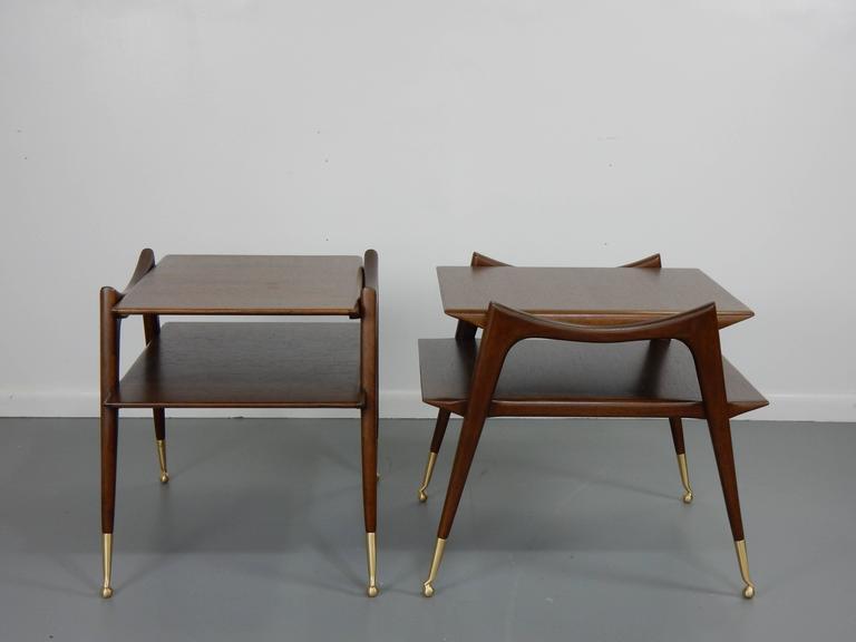 Ico Parisi Inspired Sculptural Mahogany Side Tables 3