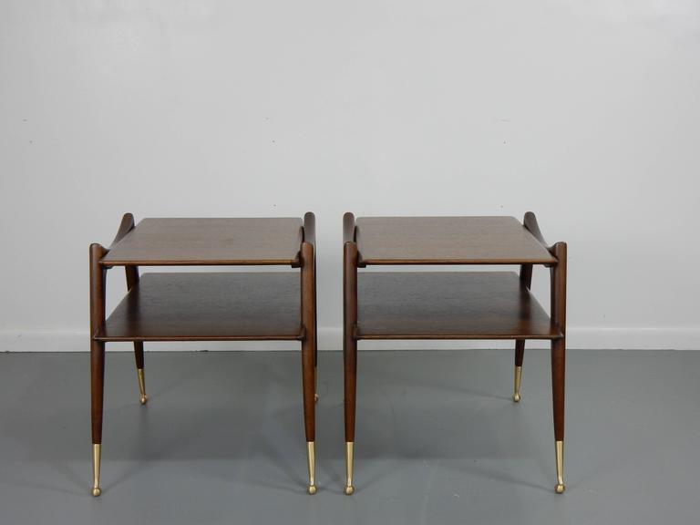Ico Parisi Inspired Sculptural Mahogany Side Tables 2