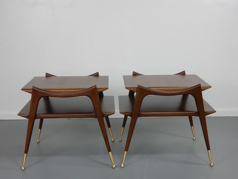Ico Parisi Inspired Sculptural Mahogany Side Tables 4