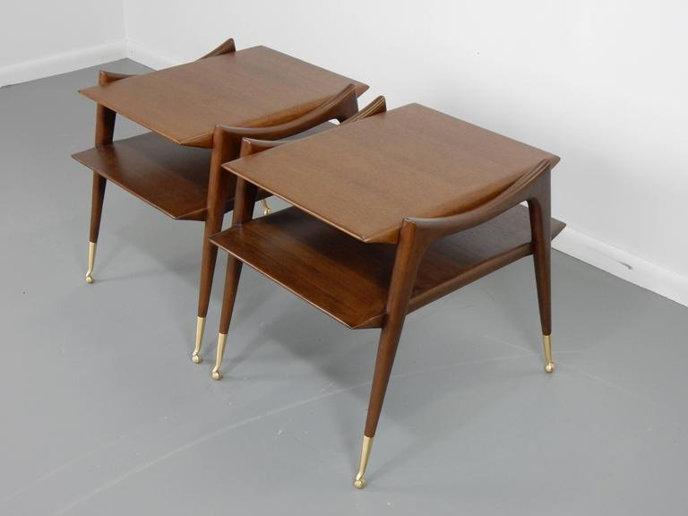 20th Century Ico Parisi Inspired Sculptural Mahogany Side Tables For Sale