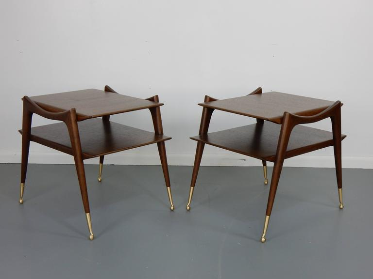 Ico Parisi Inspired Sculptural Mahogany Side Tables In Excellent Condition For Sale In Philadelphia, PA