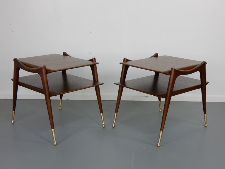 Ico Parisi Inspired Sculptural Mahogany Side Tables 5