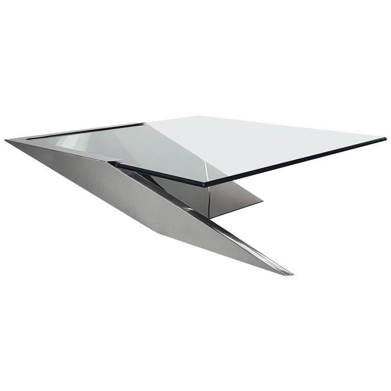 J. Wade Beam Cantilevered Stainless Steel Coffee Table by Brueton Mid Century