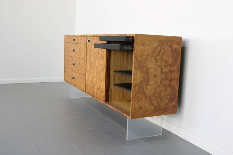 Mid-Century Modern Custom 1972 Burl and Lucite Credenza by Harvey Probber For Sale