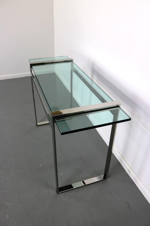 Mid-Century Modern Cy Mann Chrome and Glass Console Table For Sale