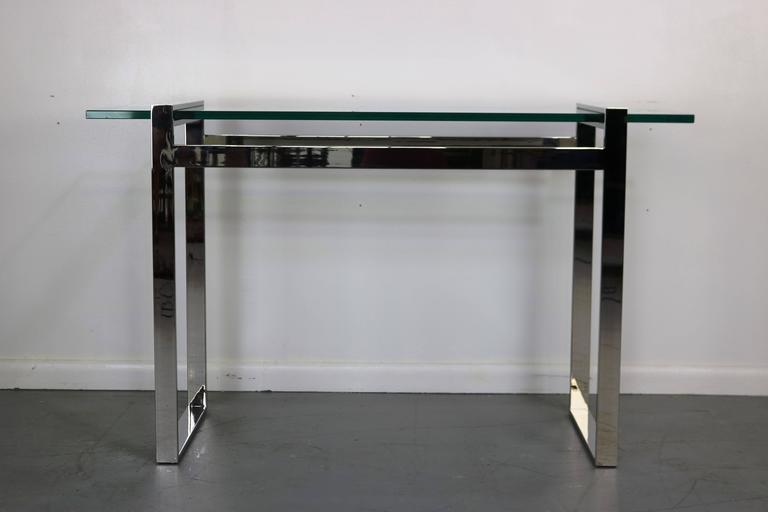 Cy Mann Chrome and Glass Console Table 2