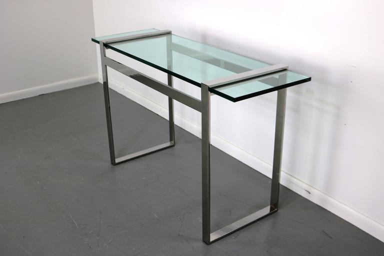 American Cy Mann Chrome and Glass Console Table For Sale