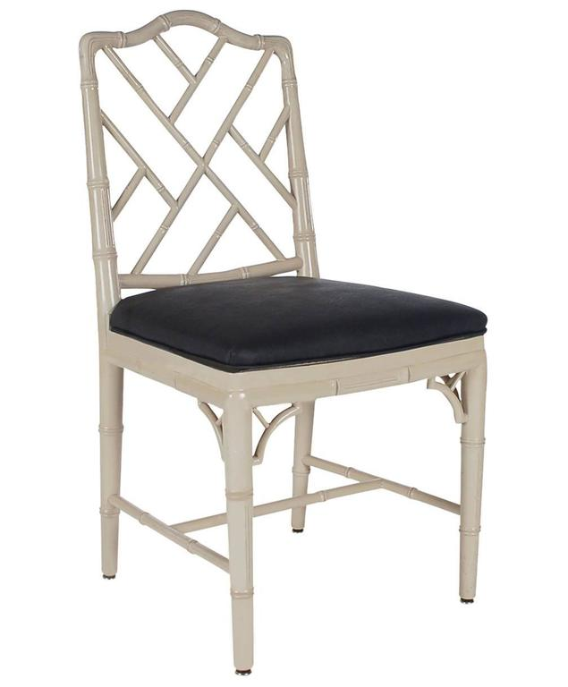 Seating Mini Gravita Armchair In Oriental Garden Fabric: Chinese Chippendale Faux Bamboo Grey And Black Dining
