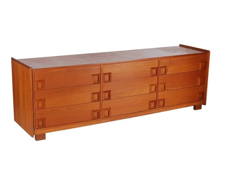 Danish Modern Mid-Century Teak Triple Dresser or Credenza after John Stuart 2