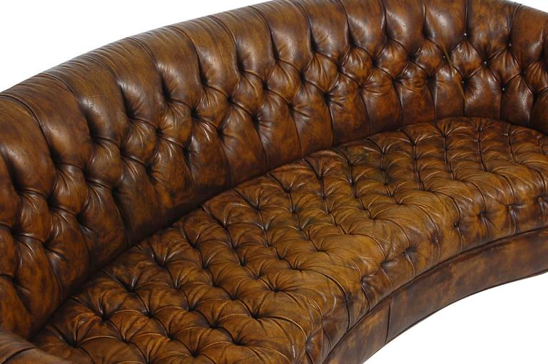 Vintage Chesterfield Sofa With Original Brown Leather At