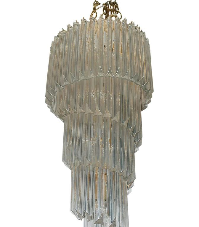 Modern Hollywood Regency Italian Venini Murano Brass Crystal Prism Spiral Chandelier For Sale