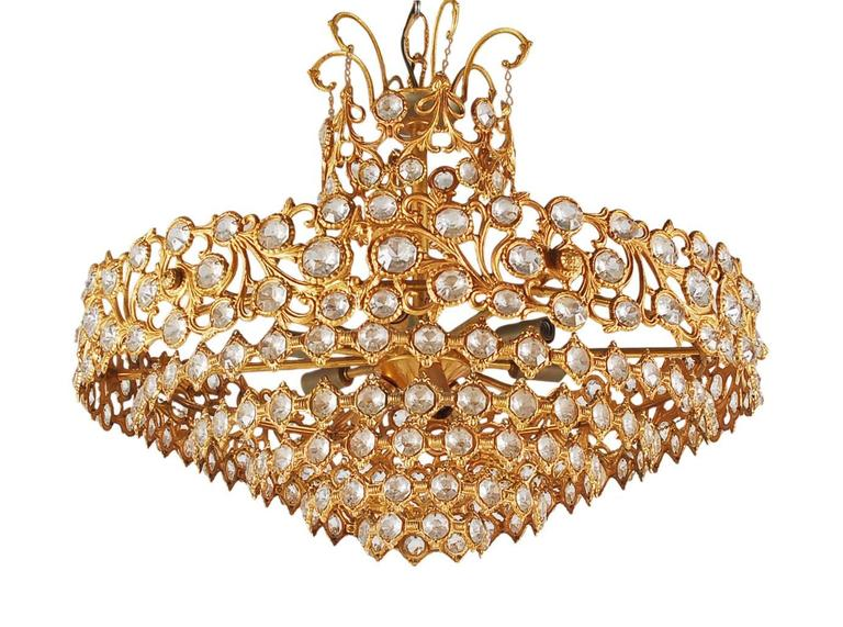 Hollywood Regency Gold Gilded French or Italian Crystal Chandelier In Excellent Condition For Sale In Philadelphia, PA