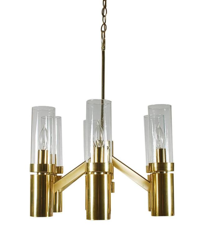 American Mid-Century Modern Tubular Brass and Glass Chandelier by Sciolari for Lightolier For Sale