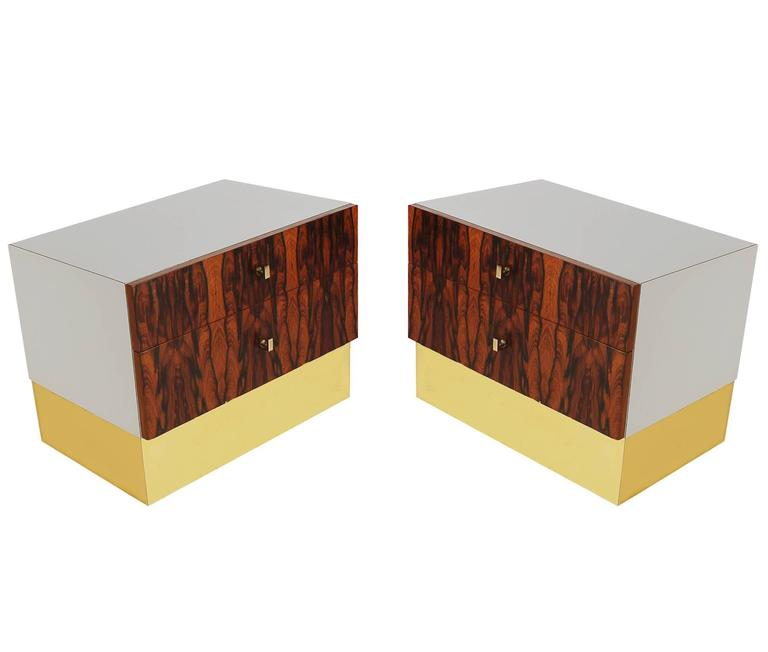 Canadian Pair of Mid-Century Modern Rosewood Brass Nightstands or End Tables by Rougier For Sale