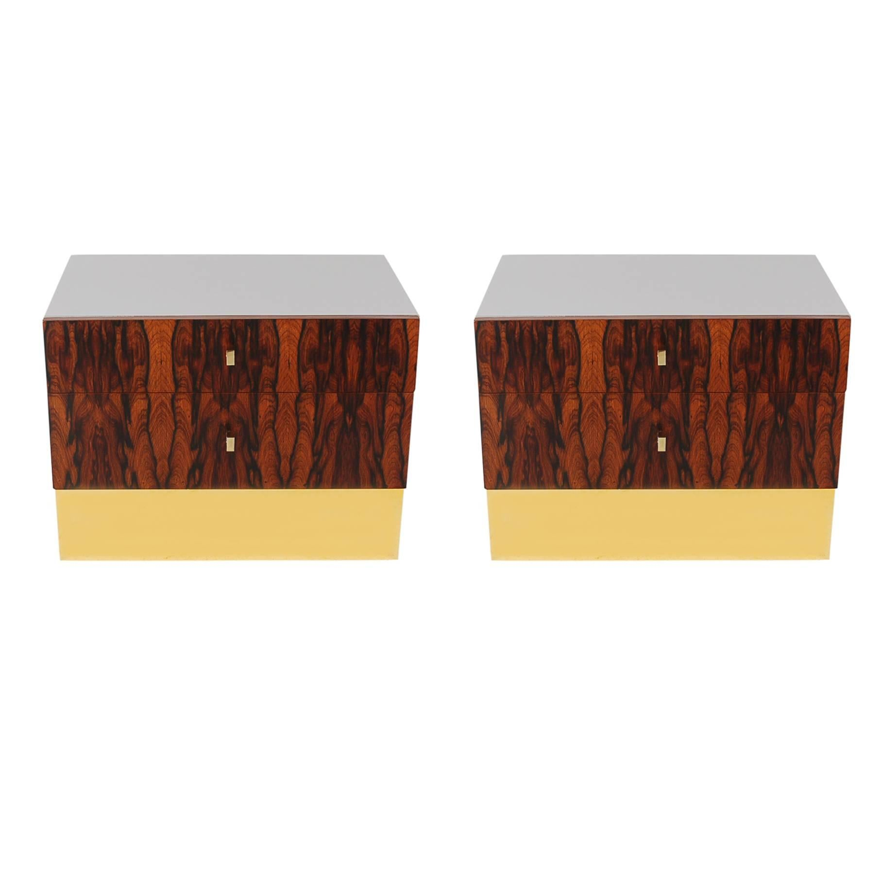 Pair of Mid-Century Modern Rosewood Brass Nightstands or End Tables by Rougier