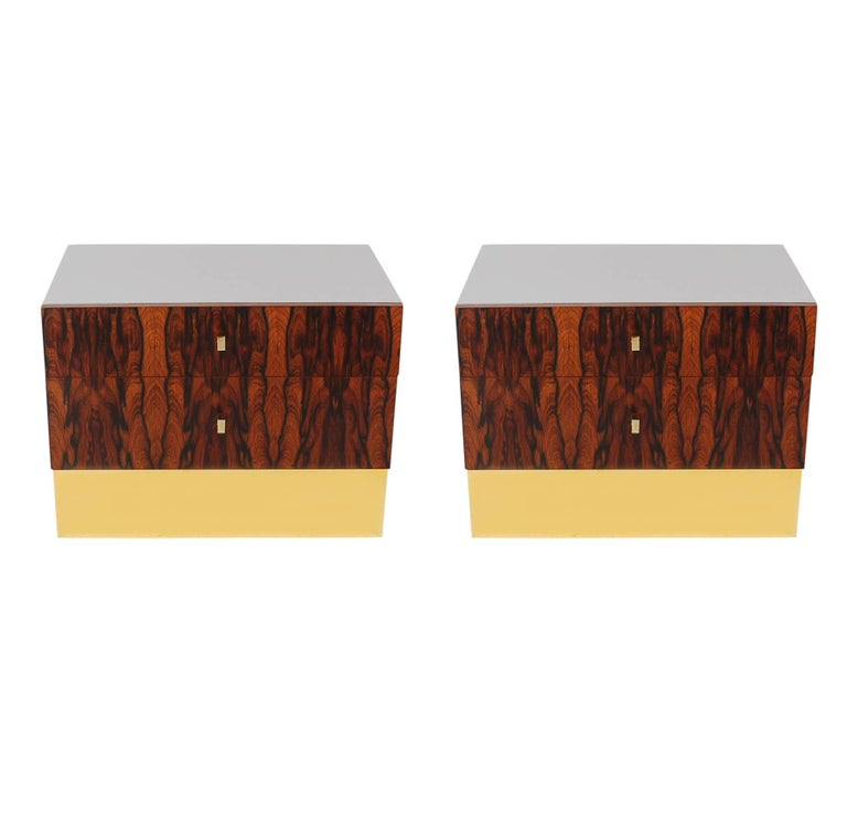 Pair of Mid-Century Modern Rosewood Brass Nightstands or End Tables by Rougier For Sale