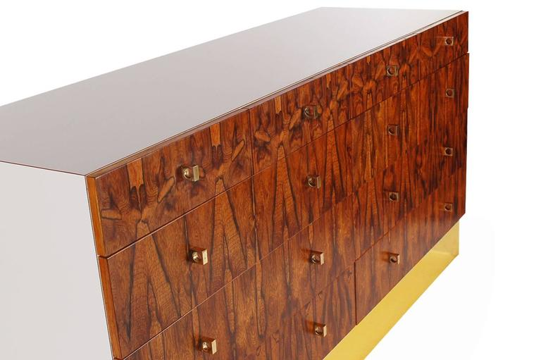 Pair of Mid-Century Modern Rosewood and Brass Dressers or Credenza by Rougier In Excellent Condition For Sale In Philadelphia, PA
