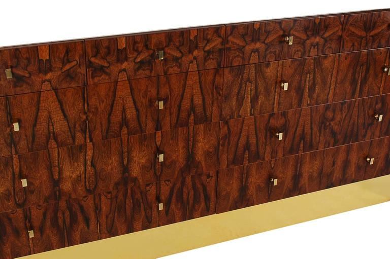 Mid-20th Century Pair of Mid-Century Modern Rosewood and Brass Dressers or Credenza by Rougier For Sale