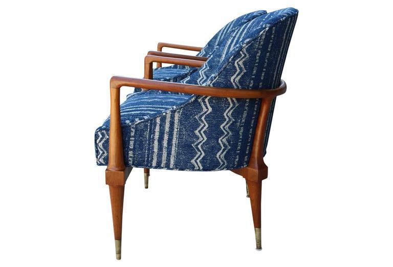 Pair Of Mid Century Modern Armchairs With Indigo Mudcloth