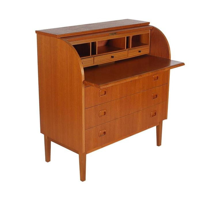 Mid-Century Modern Mid-Century Danish Modern Roll Top Desk, Dresser or Cabinet in Teak For Sale