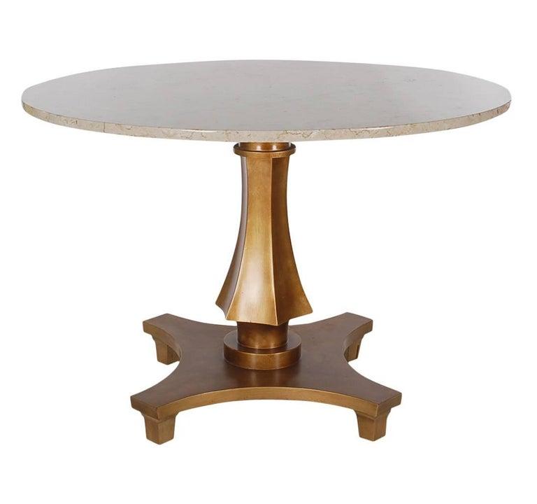 hollywood regency gold gilded marble dining or center table by baker furniture at 1stdibs. Black Bedroom Furniture Sets. Home Design Ideas